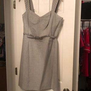 Gianni Bini Gray belted dress with sweetheart neck